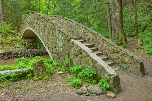 Bridge to Lower Falls, Old Man's Cave Area, Hocking Hills State Park, Ohio