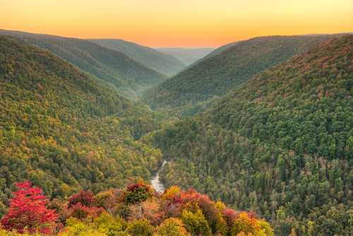 Blackwater Canyon at Sunset from Lindy Point, Blackwater Falls State Park, West Virginia