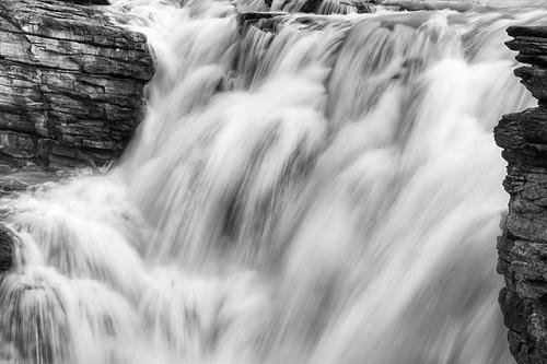 Athabasca Falls Black & White, Jasper National Park, Alberta