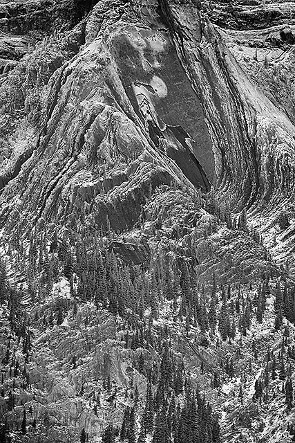 Mt. Abraham Details Black & White, David Thompson Country, Alberta