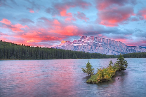 Mt. Rundle at Sunrise, Two Jack Lake, Banff National Park, Alberta