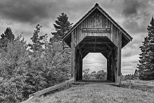 Foster Covered Bridge Black & White, Washington County, Vermont